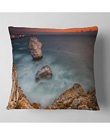 "Designart Big Rock Formations near Tulenovo Beach Photo Throw Pillow - 18"" x 18"""