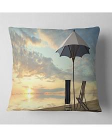 "Designart Deck Chairs and Umbrella on Beach Modern Seascape Throw Pillow - 18"" x 18"""