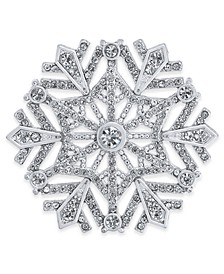 Silver-Tone Crystal Snowflake Pin, Created for Macy's