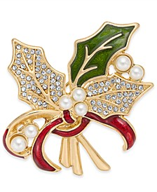 Gold-Tone Pavé & Imitation Pearl Holly Pin, Created for Macy's
