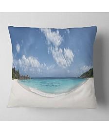 "Designart Majestic Seychelles Beach Panorama Seascape Throw Pillow - 18"" x 18"""