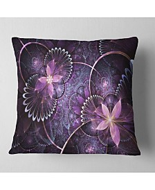 "Designart Fractal Flower Soft Purple Digital Art Flower Throw Pillow - 18"" x 18"""