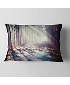 """Designart Strong Sunbeams in Thick Forest Landscape Photography Throw Pillow - 12"""" x 20"""""""