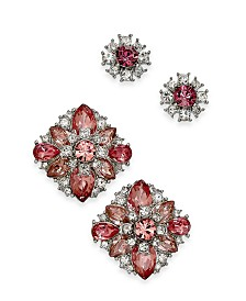 Charter Club Silver-Tone 2-Pc. Set Crystal & Stone Cluster Stud Earrings, Created For Macy's