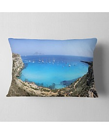 "Designart Cala Rossa Beach Sicily Italy Modern Seascape Throw Pillow - 12"" x 20"""