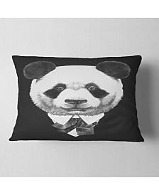 "Designart Funny Panda in Suit and Tie Animal Throw Pillow - 12"" x 20"""