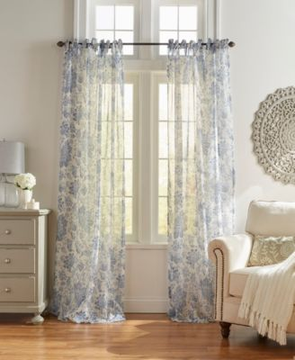 Elrene Westport Floral Tie-Top Sheer Window Curtain