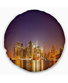 """Designart Illuminated NYC Downtown Buildings Cityscape Throw Pillow - 16"""" Round"""