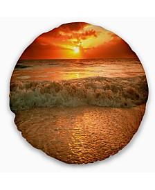 "Designart Amazing Beauty of Sun Reflection in Sea Seascape Throw Pillow - 16"" Round"