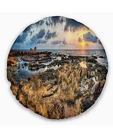 "Rocky African Seashore Panorama Oversized Beach Throw Pillow - 16"" Round"