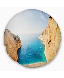 "Designart Blue Sea in Between Big Rocks Seashore Throw Pillow - 16"" Round"