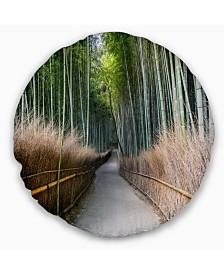 """Designart Straight Path in Bamboo Forest Forest Throw Pillow - 16"""" Round"""
