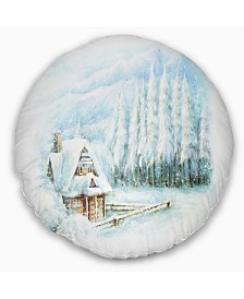"Designart Christmas Winter Happy Scene Landscape Printed Throw Pillow - 16"" Round"