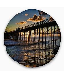 """Designart Pacific Ocean Sunset Oceanside Pier Modern Seascape Throw Pillow - 16"""" Round"""