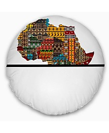 "Designart Africa Map with Ethnic Textures Abstract Throw Pillow - 16"" Round"