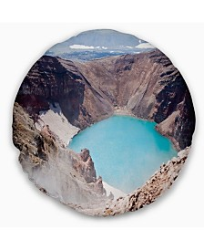 "Designart Crater of Volcano Goreliy Landscape Printed Throw Pillow - 16"" Round"