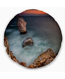 "Designart Big Rock Formations near Tulenovo Beach Photo Throw Pillow - 20"" Round"