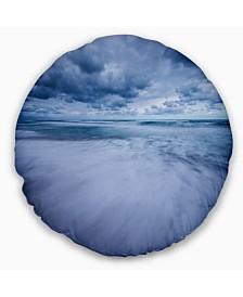 "Designart Stormy Clouds Over Ocean Modern Seascape Throw Pillow - 20"" Round"