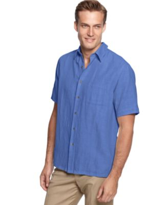 Image of Tasso Elba Men's Silk and Linen Blend Crosshatch Short-Sleeve Shirt, Only at Macy's