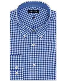 Men's Classic/Regular-Fit Comfort Stretch Wrinkle-Free Check Dress Shirt