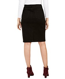 Petite Tummy-Control Denim Pencil Skirt, Created for Macy's
