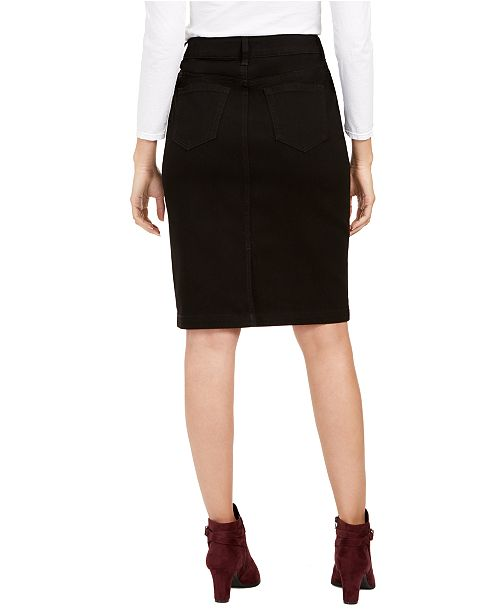 Charter Club Petite Tummy-Control Denim Pencil Skirt, Created for Macy's