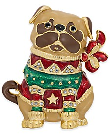 Gold-Tone Pavé Pug Pin, Created For Macy's