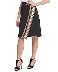 Border-Print Wrap Skirt