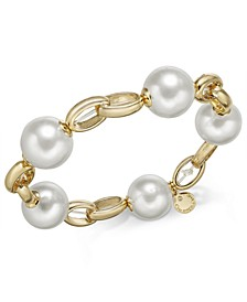 Gold-Tone Imitation Pearl Link Bracelet, Created for Macy's