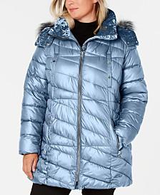 Marc New York Plus Size Hooded Faux-Fur-Trim Puffer Coat