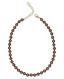 "Gold-Tone Mocha Imitation Pearl (8mm) Single Strand Necklace, 16"" + 2"" extender, Created for Macy's"