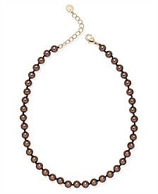 "Charter Club Gold-Tone Mocha Imitation Pearl (8mm) Single Strand Necklace, 16"" + 2"" extender, Created for Macy's"