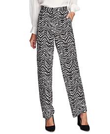 Zebra Peaks Printed Wide-Leg Pants