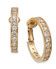 Gold-Tone Crystal Clip-On Hoop Earrings, Created For Macy's
