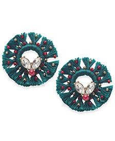 INC Gold-Tone Crystal & Bead Tassel Wreath Stud Earrings, Created for Macy's