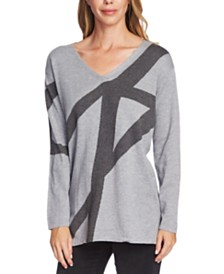 Vince Camuto Printed V-Neck Sweater