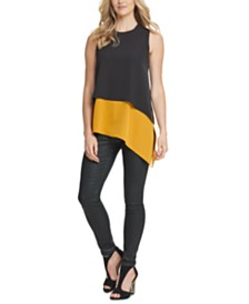 DKNY Layered-Look Asymmetrical Top