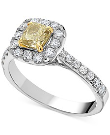 White & Yellow Diamond Ring (1-1/3 ct. t.w.) in 14k White Gold