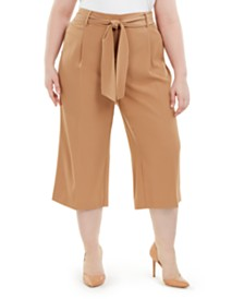 Alfani Plus Size Tummy-Control Tie-Waist Culottes, Created for Macy's