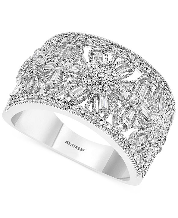 EFFY Collection EFFY® Diamond Floral Openwork Statement Ring (1/2 ct. t.w.) in 14k White Gold
