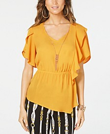 Flutter-Sleeve Peplum Top, Created for Macy's