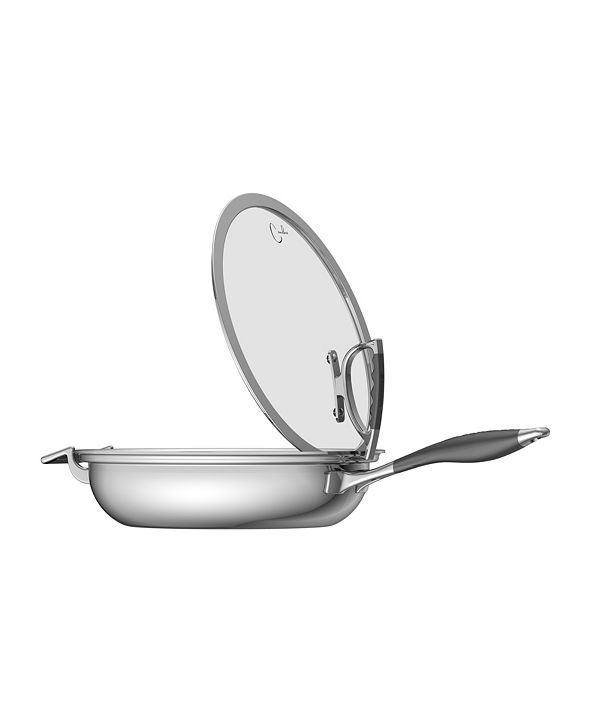 """CookCraft by Candace 13"""" French Skillet with Glass Latch Lid"""