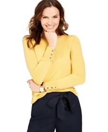 Charter Club Merino Wool  Button-Cuff Crewneck Sweater, Created for Macy's