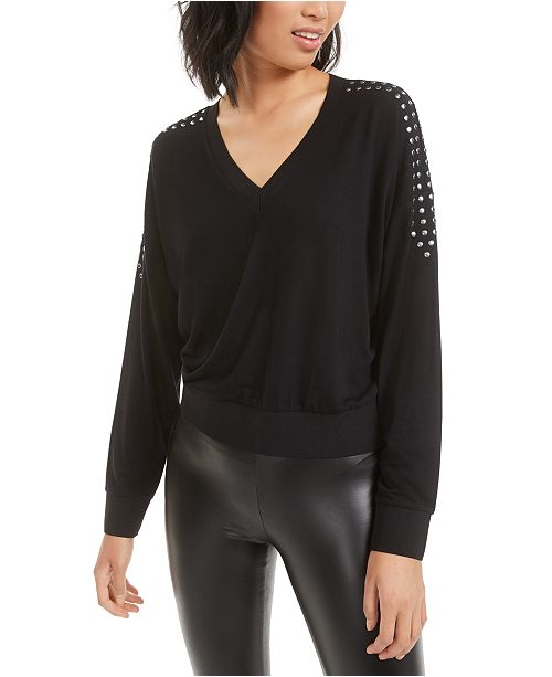 Bar III Studded V-Neck Top, Created for Macy's