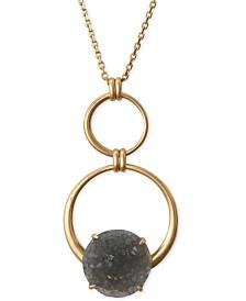 "Lucky Brand Circle & Druzy Stone Pendant Necklace, 32"" + 2"" extender"
