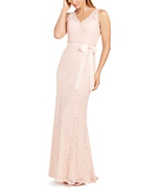 Adrianna Papell Belted Lace Gown
