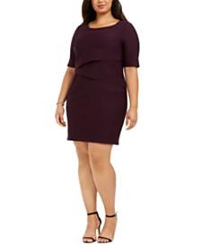 Connected Plus Size Zigzag Sheath Dress