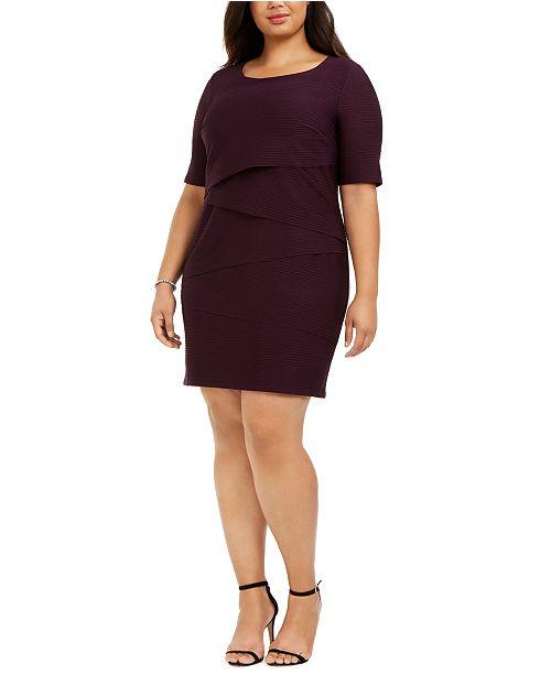 Plus Size Zigzag Sheath Dress