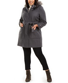 Tommy Hilfiger Plus Size Faux-Fur-Trim Hooded Belted Coat