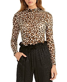 Cheetah-Print Turtleneck